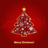 Stylized Christmas tree. On decorative background Royalty Free Stock Photo