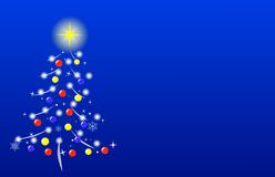 Stylized Christmas tree. Decorated Christmas tree on blue background, with copy space on the right Royalty Free Stock Images