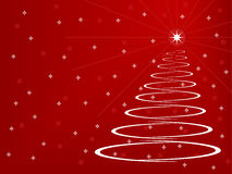 Stylized Christmas Tree. On a red background with snowflakes and stars Royalty Free Stock Image