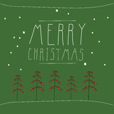 Stylized Christmas tree with balls on a green background. The inscription Merry Christmas hand drawn Royalty Free Stock Images