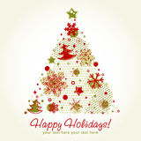 Stylized Christmas tree card. Stylized Christmas tree shaped card with snowflakes, xmas fir trees and stars on a halftone background Stock Photography