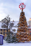 Stylized Christmas tree in the center of Riga at Christmas Royalty Free Stock Photos