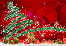 Stylized Christmas tree and clock. Image of Christmas tree and clock close up Stock Photos