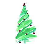Stylized Christmas tree with colorful ornaments Stock Photography