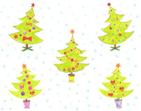 Stylized Christmas tree with colorful ornaments Royalty Free Stock Images