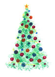 Stylized Christmas tree with colorful ornaments Stock Photos