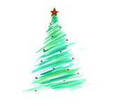 Stylized Christmas tree with colorful ornaments Royalty Free Stock Image