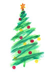 Stylized Christmas tree with colorful ornaments Stock Images