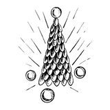 Stylized Christmas tree decorated with balls. For the creation of holiday cards, backgrounds and ornaments. Hand drawn vector illustration vector illustration