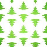 Stylized christmas tree decorative seamless pattern. On geometric triangle background Stock Photo