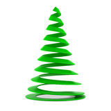Stylized Christmas tree in green plastic. Isolated on white background vector illustration