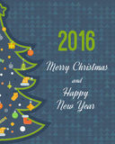 Stylized Christmas tree. New Year greeting card Stock Image