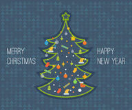 Stylized Christmas tree. New Year greeting card Royalty Free Stock Photography