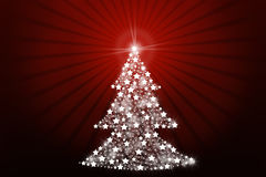 Stylized Christmas tree. On red background Royalty Free Stock Image