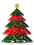 Stylized Christmas tree. With red ornaments for wish Stock Photo