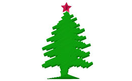 Stylized Christmas tree with red star Royalty Free Stock Photos
