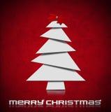 Stylized Christmas Tree on Red Velvet Background Stock Photos