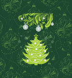 Stylized Christmas tree on the seamless background with tinsel and ornamental balls Stock Image