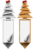 Stylized Christmas Tree Vertical Banners. Two vertical Xmas banners with stylized Christmas tree and blank pages on white background Royalty Free Stock Image