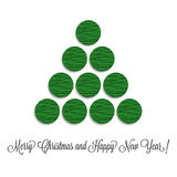 Stylized Christmas tree volume of paper circles Royalty Free Stock Photos