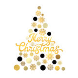 Stylized Christmas tree  on white background with trendy gold hand lettering design. Stylish Xmas card. Royalty Free Stock Images