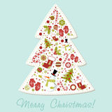 Stylized Christmas tree with xmas toys, balls... Stylized Christmas tree with xmas toys, balls, snowflakes, cute cartoon mittens, candy cane, holly berries Royalty Free Stock Image
