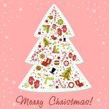 Stylized Christmas tree with xmas toys, balls... Stock Photography