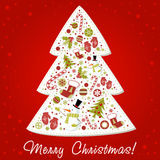 Stylized Christmas tree with xmas toys, balls... Royalty Free Stock Image