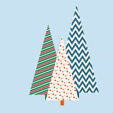 Stylized Christmas trees with a geometric pattern Winter festive background for card invitation template banner Creative vector illustration