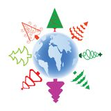 Stylized Christmas trees over globe Stock Photos
