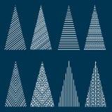 Stylized Christmas trees. Set of stylized Christmas trees for decoration stock illustration