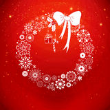 Stylized Christmas wreath from snowflakes. Vector  Royalty Free Stock Photos