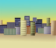 Stylized city. Drawn in Royalty Free Stock Image