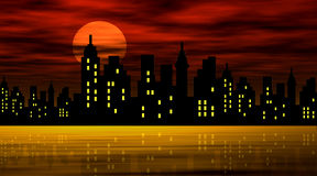 Stylized city against night Royalty Free Stock Photography