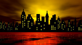 Stylized city against night Stock Images