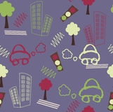 Stylized city background. Cartoon city illustration - seamless pattern Royalty Free Stock Photo