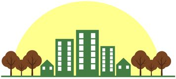 Colorful Stylized city with sun and trees isolated stock illustration