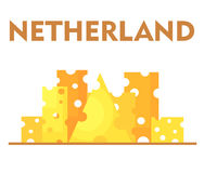Stylized city under slices of cheese, as one of the characteristics of the Netherlands. Stock Image