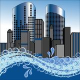 Stylized City with waves splashng. City with waterfront waves splashing in blue colors Royalty Free Stock Image
