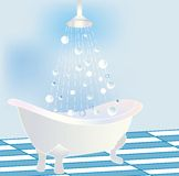 Stylized claw tub with shower Royalty Free Stock Photo