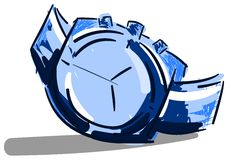 Stylized clock in blue tones  Royalty Free Stock Images