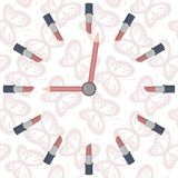 Stylized clock with lipsticks Stock Photography