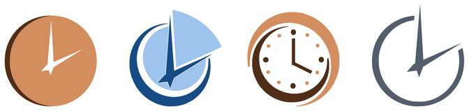 Set of Stylized colorful clocks isolated. Set of stylized clocks usable as logo or for projects about time Stock Image
