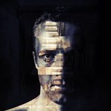 Stylized closeup portrait of grungy man Stock Images