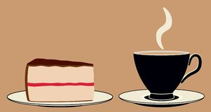 Stylized coffee and cake. A stylized cup of coffee and a slice of cake.  EPS8 vector file also available Stock Images