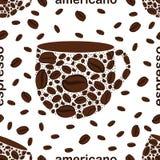 Stylized coffee cup. Seamless pattern stock illustration