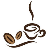 Stylized Coffeecup. Vector stylized cup of coffee icon with beans Stock Images
