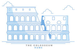 Stylized coliseum, Roman amphitheater, Rome, freehand design. Italy. Capital. Colosseum. Famous monument, seven wonders of the world Royalty Free Stock Images