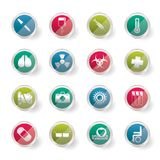 Stylized collection of medical themed icons and warning-signs over colored background. Stylized collection of  medical themed icons and warning-signs over Stock Photos