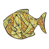Stylized colored fish. Stylized colored fish, zentangle isolated on white background. Vector sketch for tattoo. Zen art for your sea design Stock Images